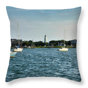 Silver Lake And Ocracoke Island Lighthouse Throw Pillow