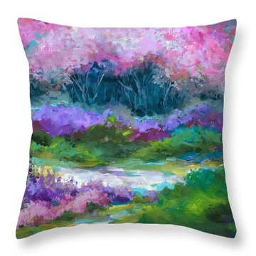 Silver Lake Cherry Blossoms Throw Pillow by Nancy Medina