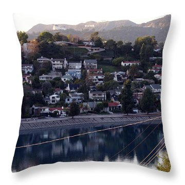 Silver Lake Reservoir And Hollywood Hills Throw Pillow