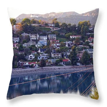 Silver Lake Reservoir With Griffith Observatory And Hollywood Sign Throw Pillow