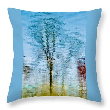Silver Lake Tree Reflection Throw Pillow