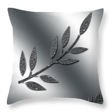 Silver Leaves Abstract Throw Pillow