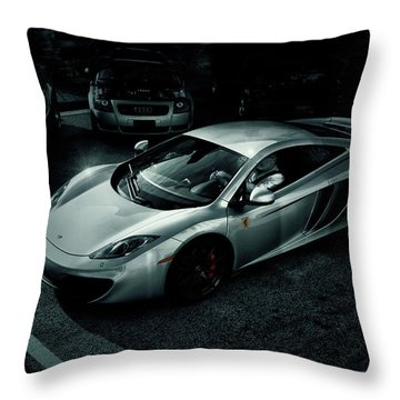 Throw Pillow featuring the photograph Silver Mclaren by Joel Witmeyer