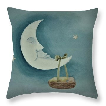 Silver Moon With Picnic Basket Throw Pillow