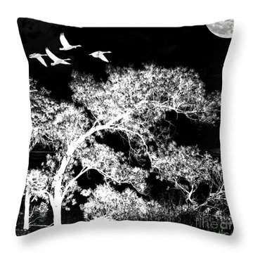Silver Nights Throw Pillow