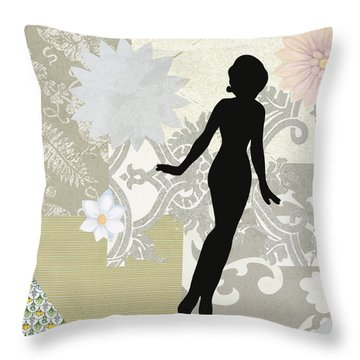 Silver Paper Doll Throw Pillow
