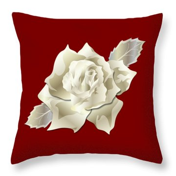Throw Pillow featuring the digital art Silver Rose Graphic by MM Anderson