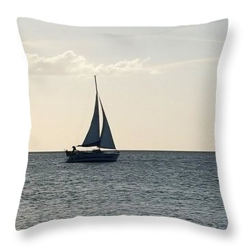 Silver Sailboat Throw Pillow