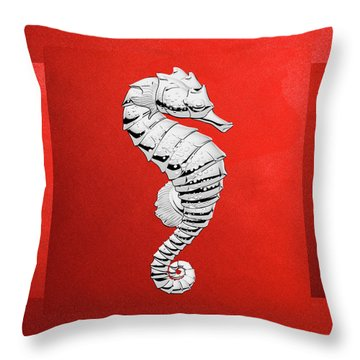 Throw Pillow featuring the digital art Silver Seahorse On Red Canvas by Serge Averbukh