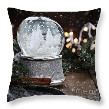 Throw Pillow featuring the photograph Silver Snow Globe by Stephanie Frey