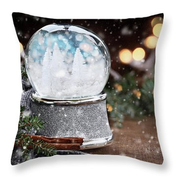 Throw Pillow featuring the photograph Silver Snow Globe With White Christmas Trees by Stephanie Frey