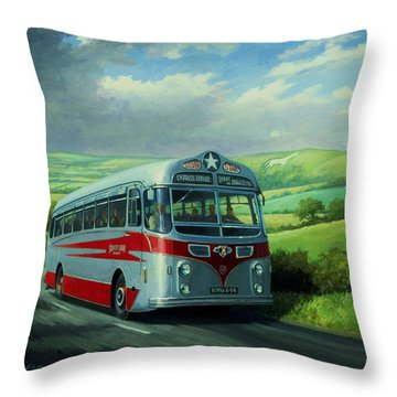 Silver Star Leyland Coach Throw Pillow by Mike  Jeffries