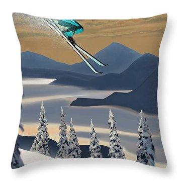 Silver Star Ski Poster Throw Pillow