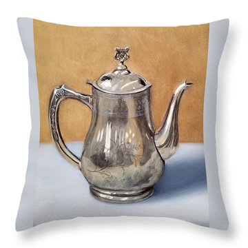 Silver Teapot Throw Pillow