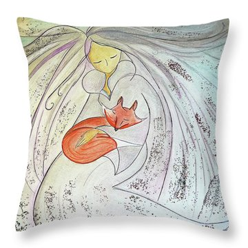 Throw Pillow featuring the painting Silver Threads by Gioia Albano