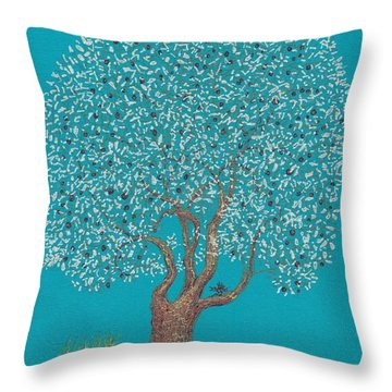 Silver Tree Throw Pillow