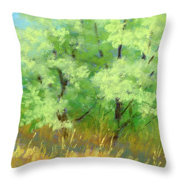 Silver Trees By The Path Throw Pillow