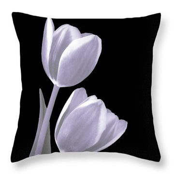 Silver Tulips Throw Pillow