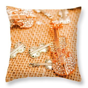Silver Violin Pendant With Diamonds Throw Pillow