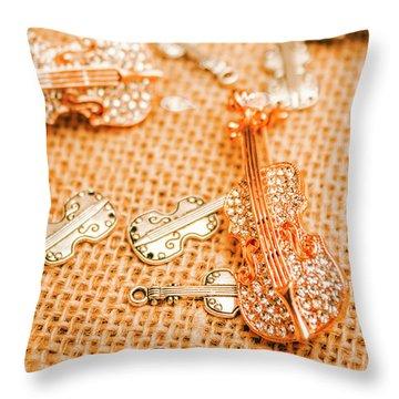 Silver Violin Pendant With Diamonds Throw Pillow