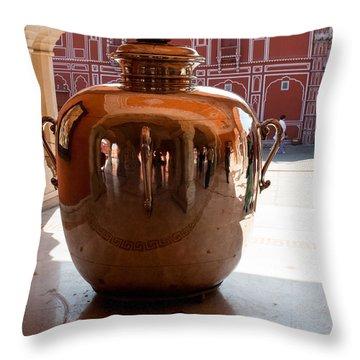 Silver Water Urn Jaipur Throw Pillow by Ashish Agarwal