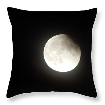 Silver White Eclipse Throw Pillow