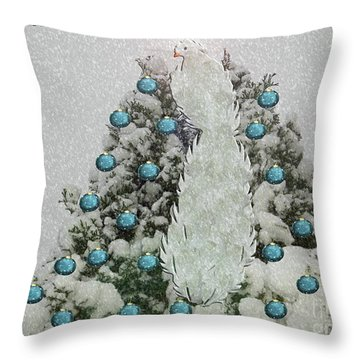 Silver Winter Bird Throw Pillow