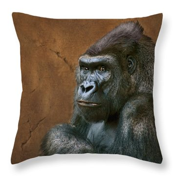 Silverback Stare - Gorilla Throw Pillow