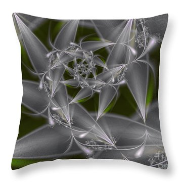 Throw Pillow featuring the digital art Silverleaves by Karin Kuhlmann