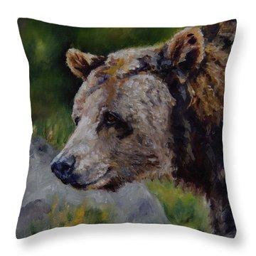 Silvertip Throw Pillow by Lori Brackett