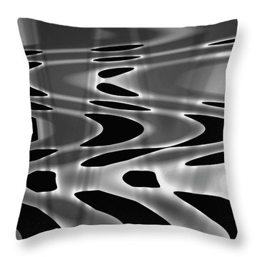 Silvery Abstraction Bw  Throw Pillow