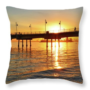 Sily Sunset At The Pier Throw Pillow