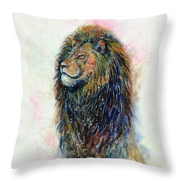 Throw Pillow featuring the painting Simba by Zaira Dzhaubaeva