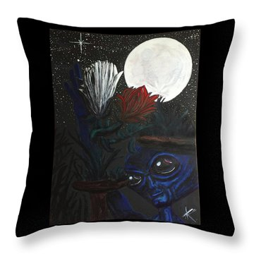 Throw Pillow featuring the painting Similar Alien Appreciates Flowers By The Light Of The Full Moon. by Similar Alien