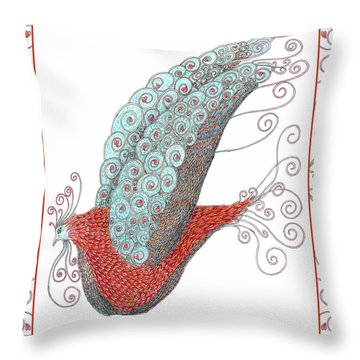Simon Lovey The Exotic Bird With Border Throw Pillow