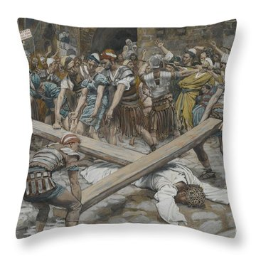 Simon The Cyrenian Compelled To Carry The Cross With Jesus Throw Pillow by Tissot