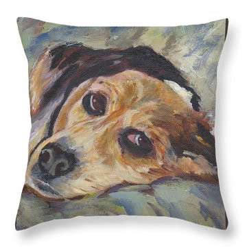 Throw Pillow featuring the painting simonClydemcflyMcCue by Patricia Cleasby