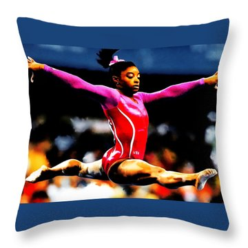 Simone Biles Throw Pillow