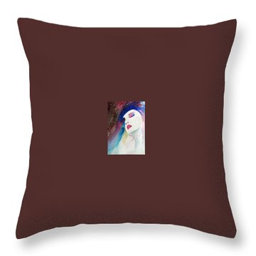Throw Pillow featuring the painting Simonne by Ed Heaton