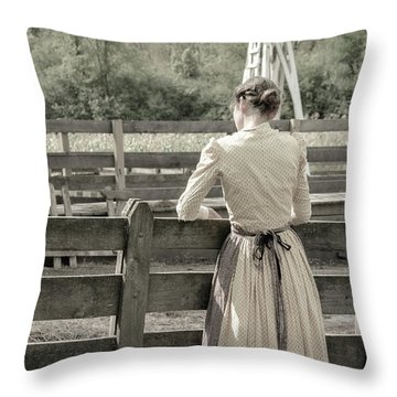 Throw Pillow featuring the photograph Simple Life Girl On Farm by Julie Palencia