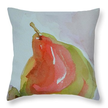 Throw Pillow featuring the painting Simple Pear by Beverley Harper Tinsley