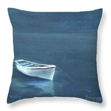 Simple Serenity - Lone Boat Throw Pillow