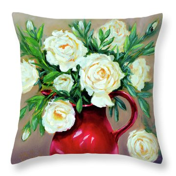Simple White Roses Throw Pillow