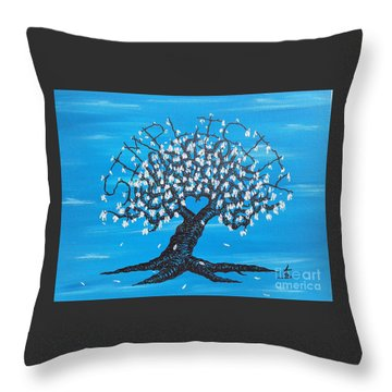Throw Pillow featuring the drawing Simplicity Love Tree by Aaron Bombalicki