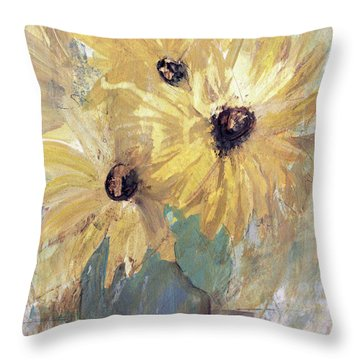 Throw Pillow featuring the painting Simply Sunflowers  by Robin Maria Pedrero