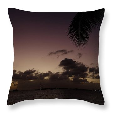 Simpson Bay Purple Sunset Saint Martin Caribbean Throw Pillow