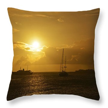 Simpson Bay Sunset Saint Martin Caribbean Throw Pillow