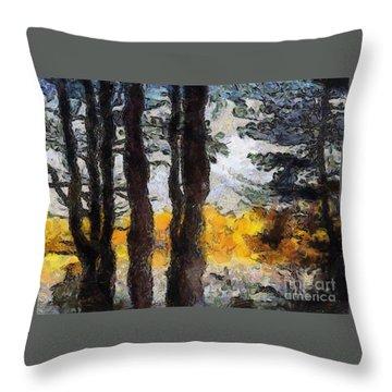 Simulated Van Gogh Scene Throw Pillow