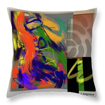 Simultaneous 2 Throw Pillow by Janis Kirstein