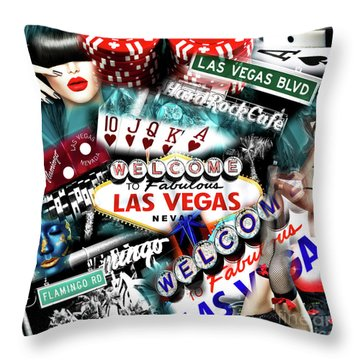 Throw Pillow featuring the photograph Sin City by John Rizzuto